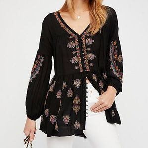 NWT Free People Arianna Embroidered Tunic Black